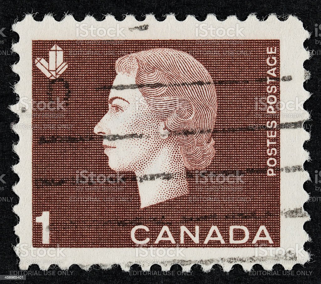 Queen Elizabeth II postage stamp royalty-free stock photo