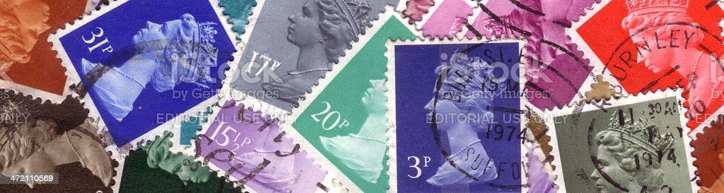 Queen Elizabeth II stamps banner royalty-free stock photo
