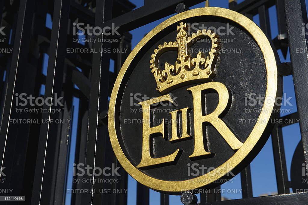 Queen Elizabeth Regina II Royal Cypher with Crown in Gold stock photo