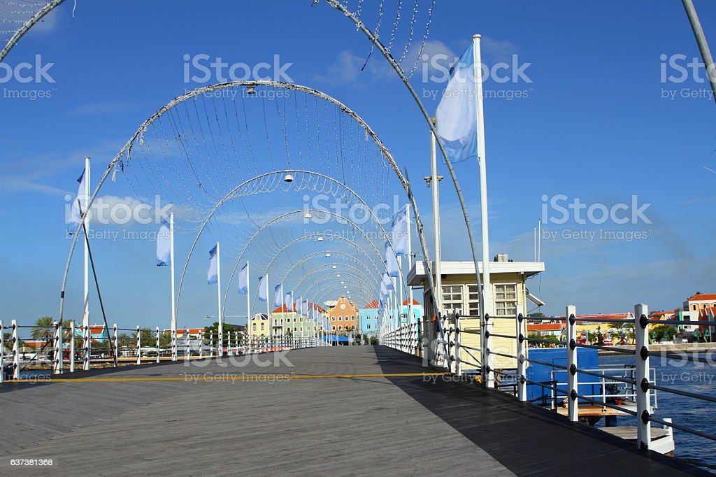 Queen Emma Bridge in Curacao during the Day stock photo