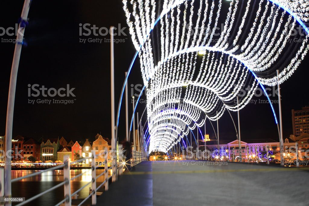 Queen Emma Bridge in Curacao during the Night stock photo