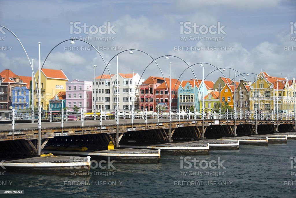 Queen Emma Pontoon Bridge in Willemstad stock photo