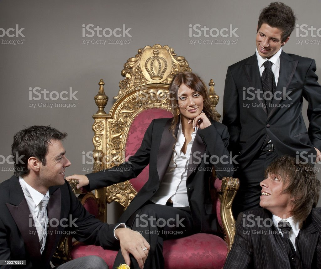 Queen Girl and Three Men royalty-free stock photo