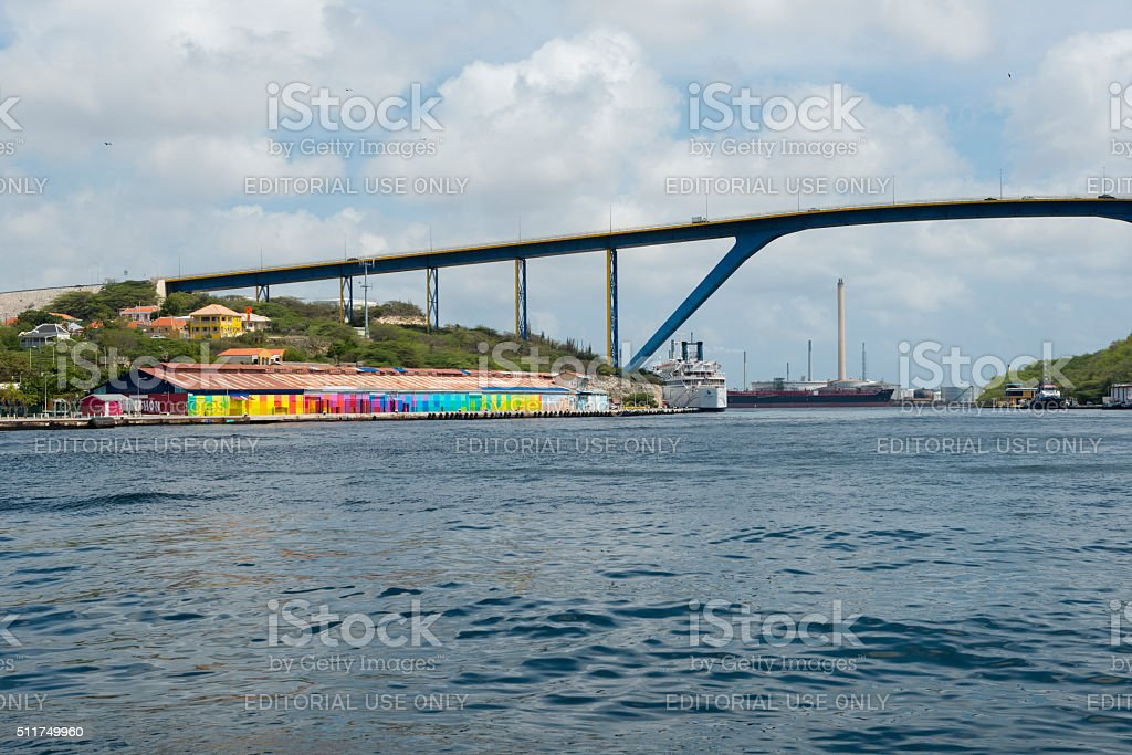 Queen Juliana Bridge in Willemstad, Curacao stock photo