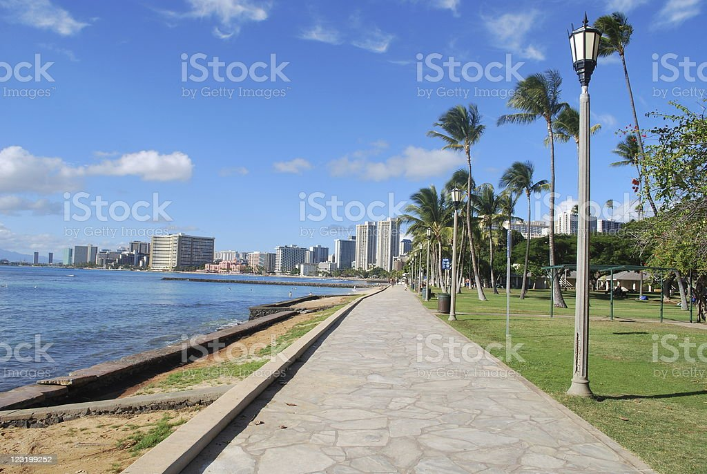 Queen Kapiolani Park in Oahu, Hawaii royalty-free stock photo