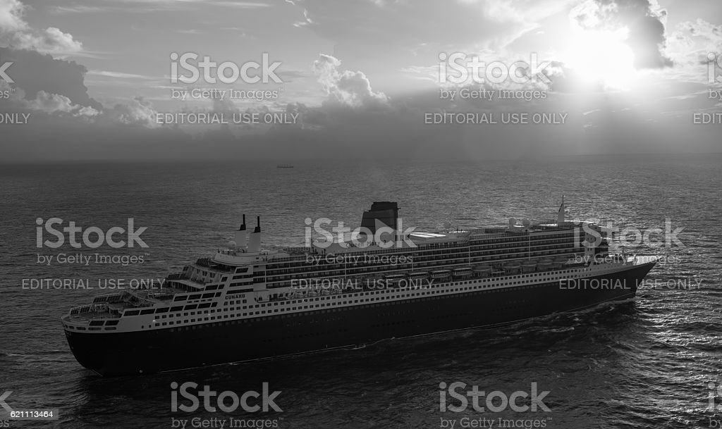 RMS Queen Mary 2 At Sea stock photo