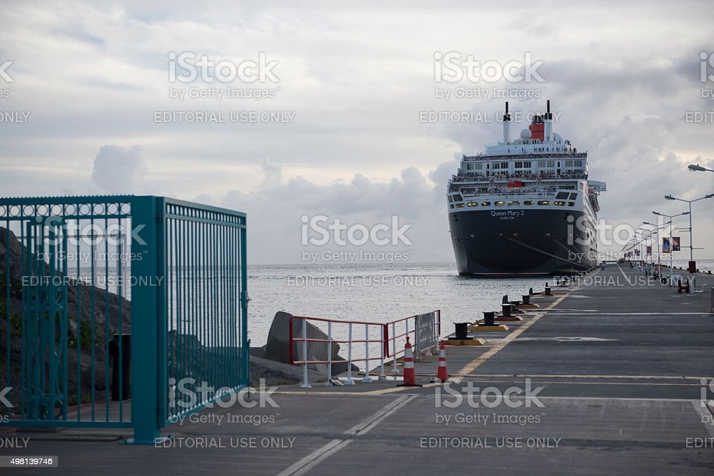 Queen Mary 2 cruise ship in Philipsburg, St. Maarten stock photo