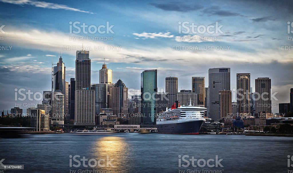 Queen Mary 2 in Sydney at sunset stock photo