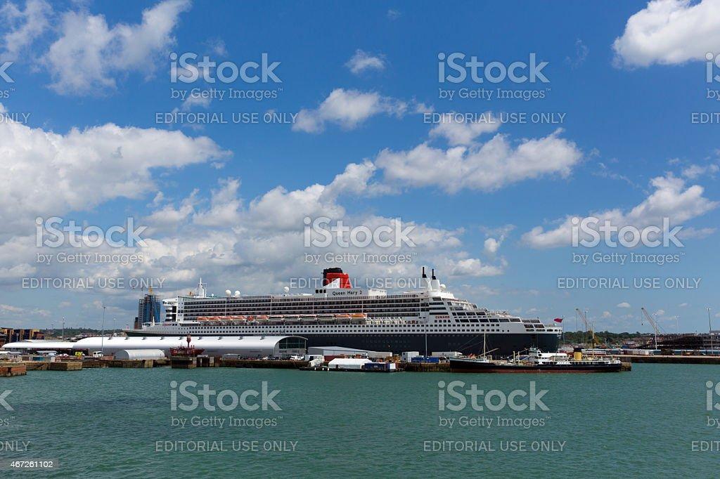 Queen Mary 2 ocean going cruise ship Southampton Docks stock photo