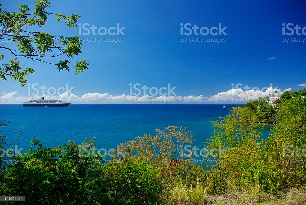 Queen Mary 2 sailing off the coast of St Lucia stock photo