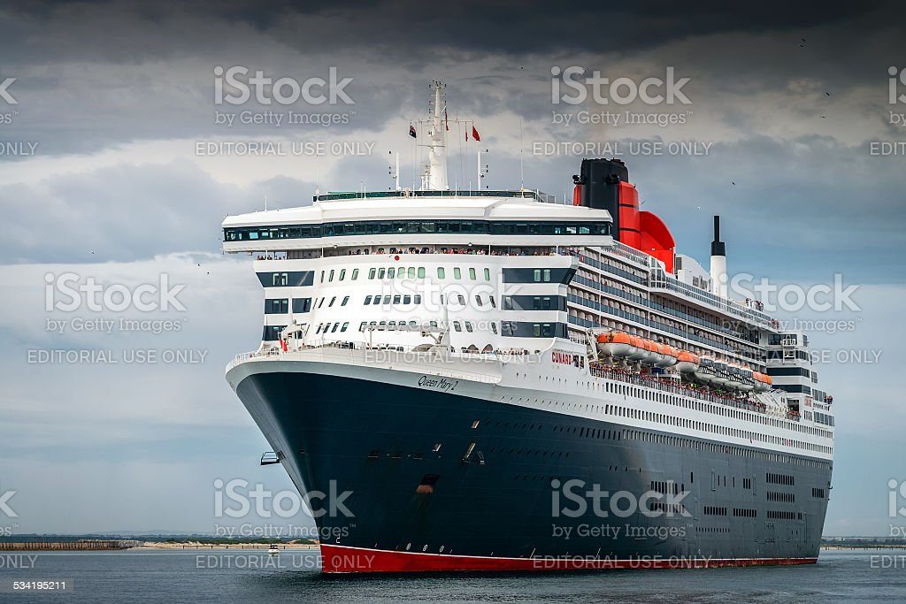 RMS Queen Mary 2 with people on board stock photo