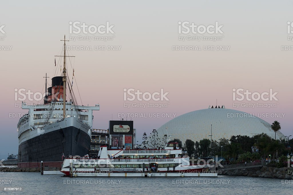 RMS Queen Mary and dome in Long Beach stock photo