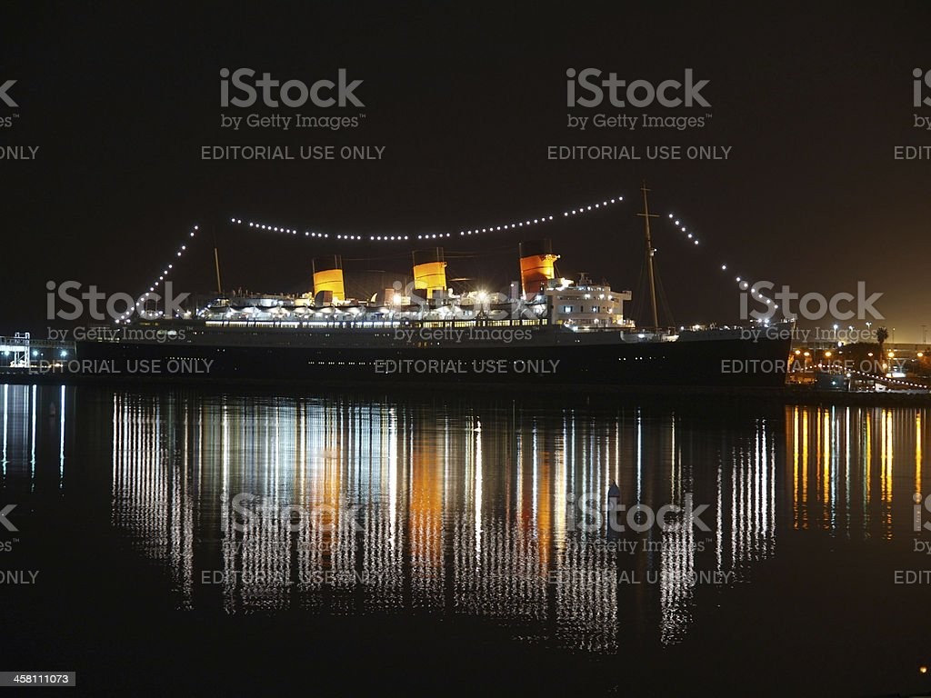 Queen Mary Night stock photo