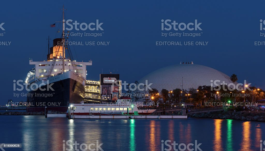 RMS Queen Mary Ocean an Dome in Long Beach stock photo