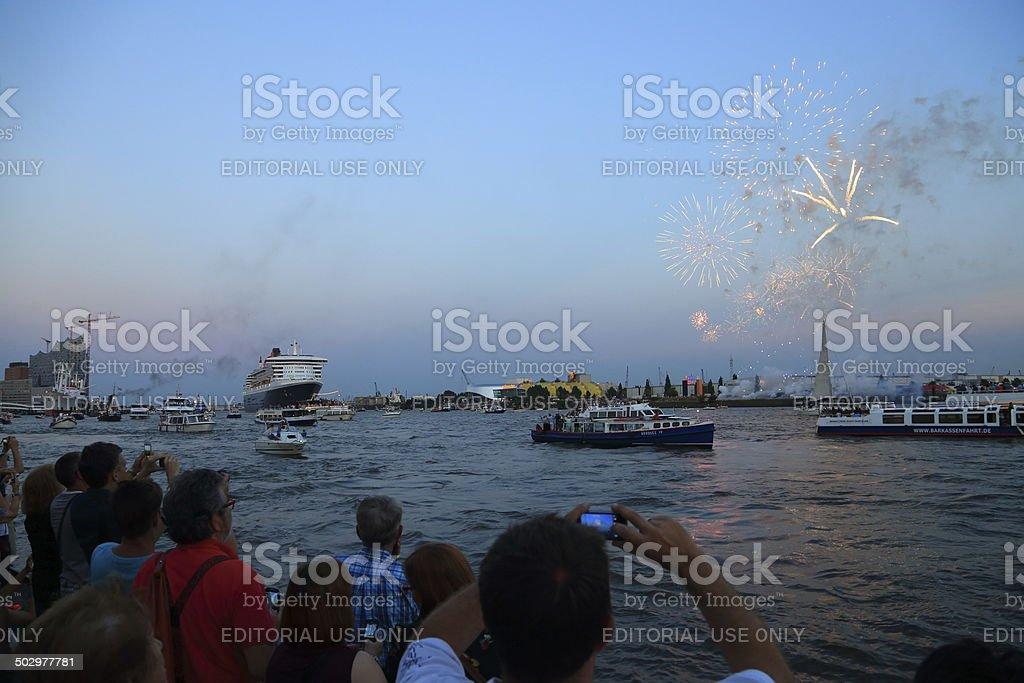 Queen Mary - Passenger Liner in Hamburg Germany stock photo