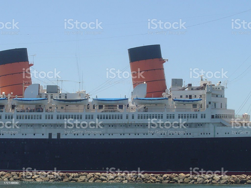 Queen Mary Sideview Long Beach Close Up stock photo