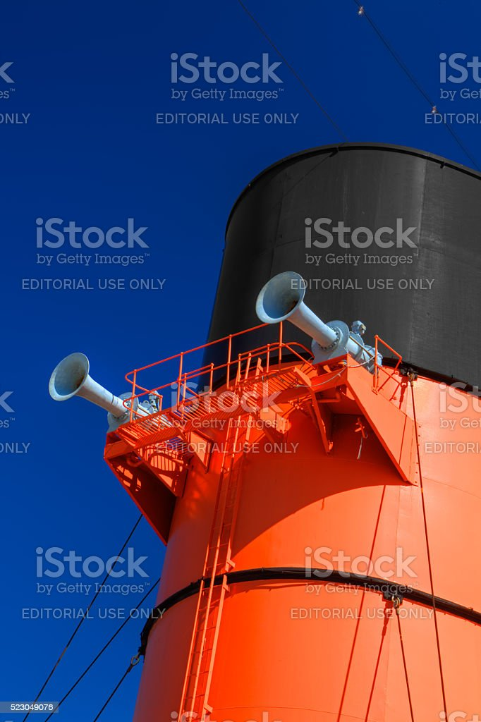 Queen Mary Smokestack stock photo