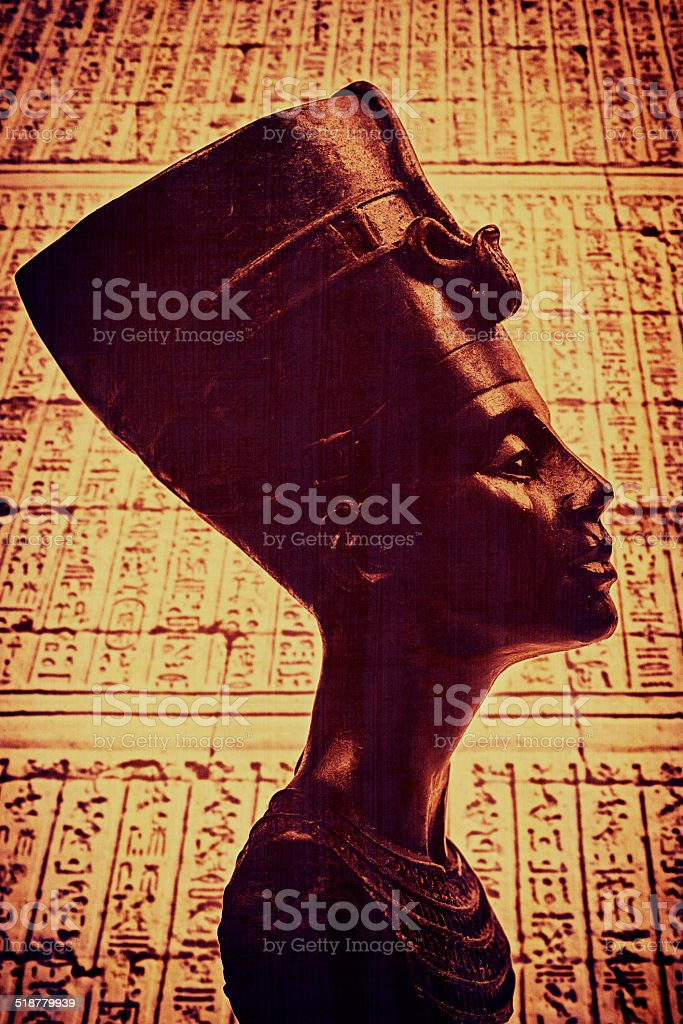 Queen Nefertiti on Hieroglyphics stock photo