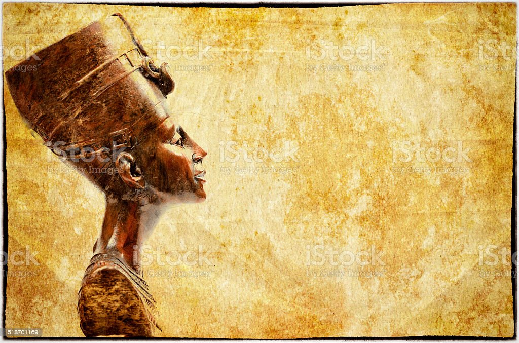 Queen Nefertiti on Old Paper stock photo