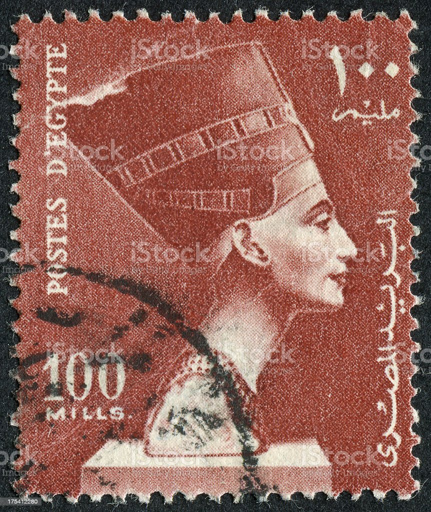 Queen Nefertiti Stamp royalty-free stock photo