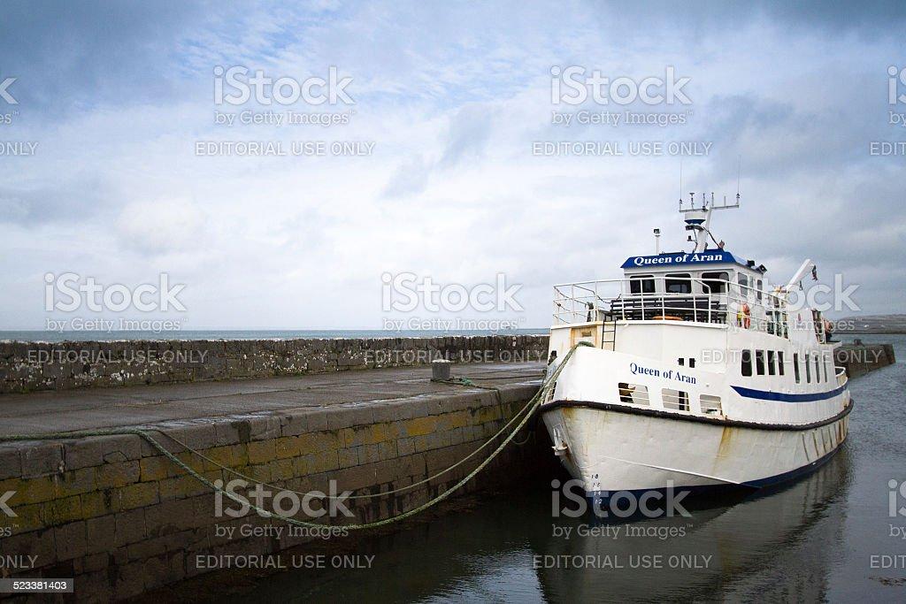 Queen of Aran Ferry at Ballyvaughan Pier, Ireland stock photo