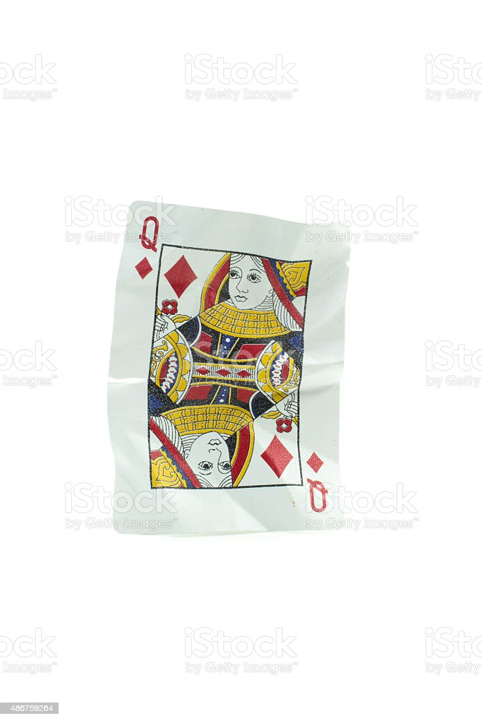 Queen of Diamonds Crumpled Playing Cards on white background stock photo