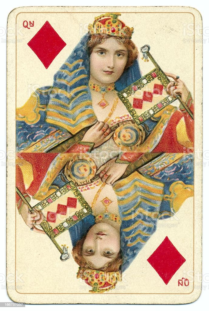 Queen of Diamonds Dondorf Shakespeare antique playing card stock photo