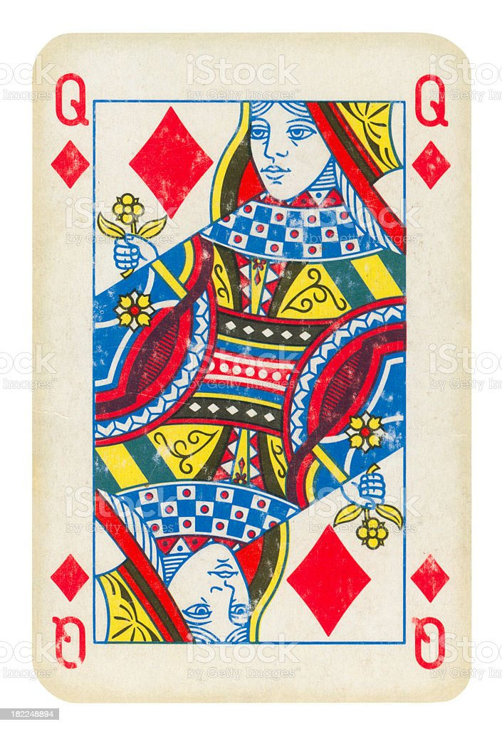 Queen Of Diamonds Isolated (clipping path) included royalty-free stock photo