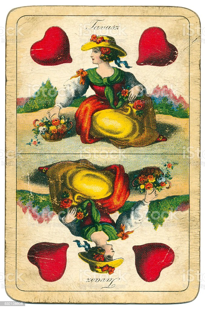 Queen of Hearts playing card William Tell Hungary 1890 stock photo