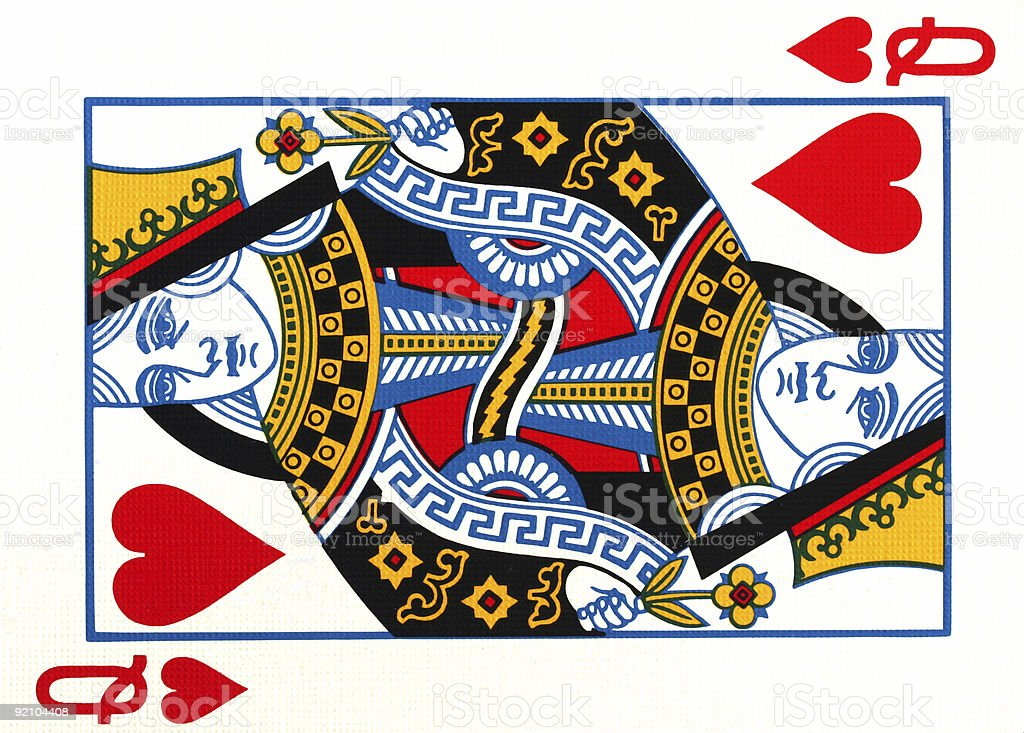 Queen of hearts playing card stock photo