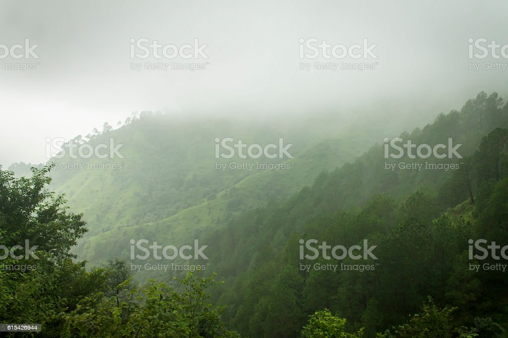 Queen of hills Shimla during monsoon. stock photo