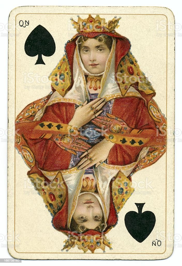 Queen of Spades Dondorf Shakespeare antique playing card stock photo