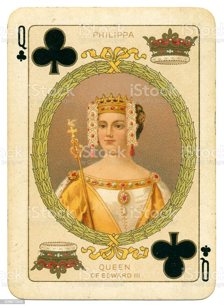 Queen Philippa Queen of Clubs stock photo