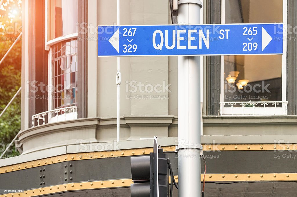 Queen Street sign in Auckland - New Zealand biggest city stock photo