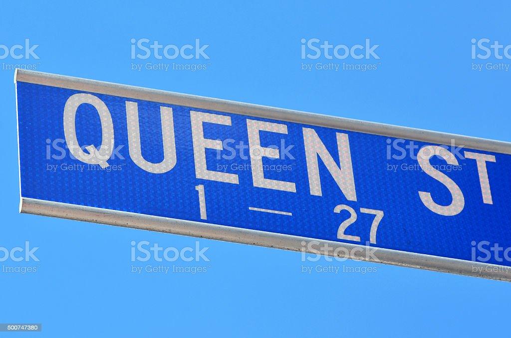 Queen Street signpost stock photo