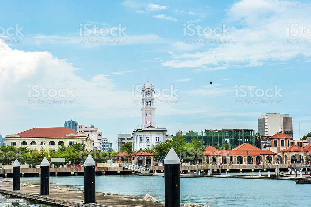 Queen Victoria Clock Tower viewed from Penang Harbor stock photo