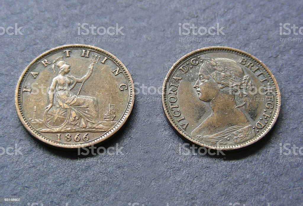 Queen Victoria Farthing stock photo
