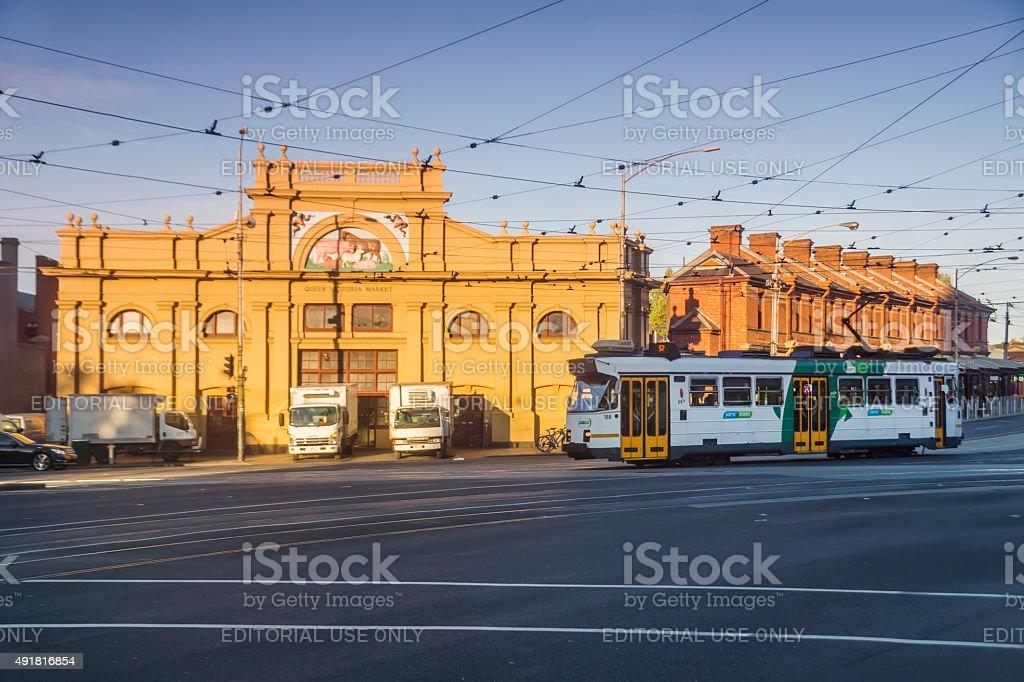 Queen Victoria Market at sunrise stock photo