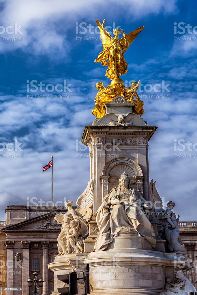 Queen Victoria Memorial Statue at Buckingham Palace stock photo