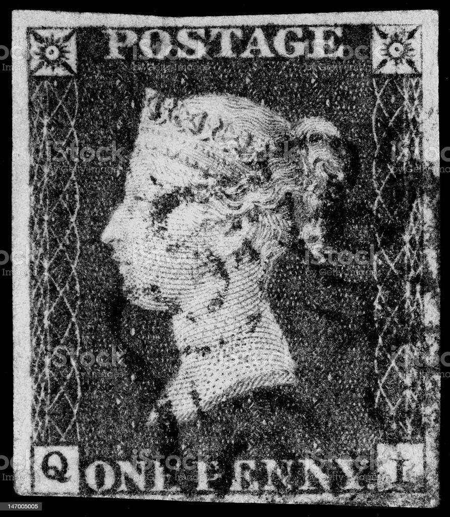 Queen Victoria Penny Black Stamp stock photo