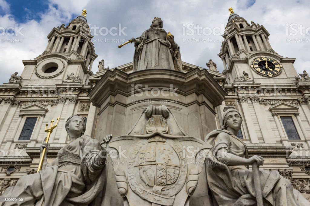 Queen Victoria Statue with St. Paul's Cathedral spires stock photo