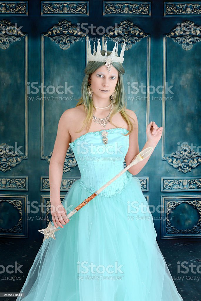 queen with ice crown and wand stock photo