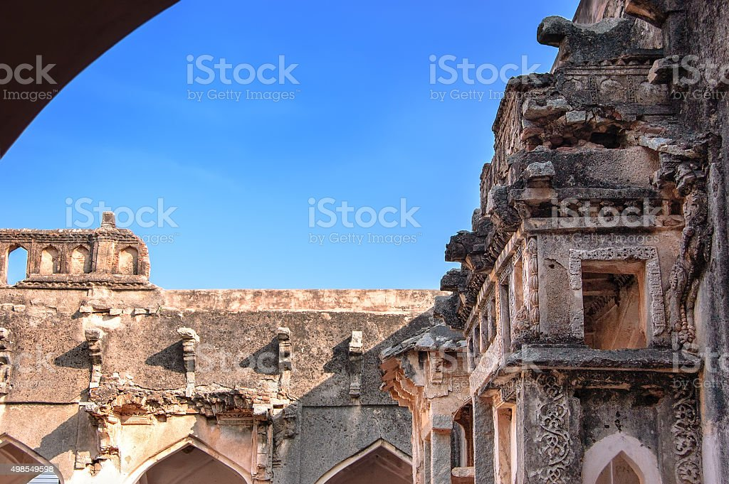 Queen's Bath - ancient ruins of Vijayanagara Empire, Hampi, India. stock photo