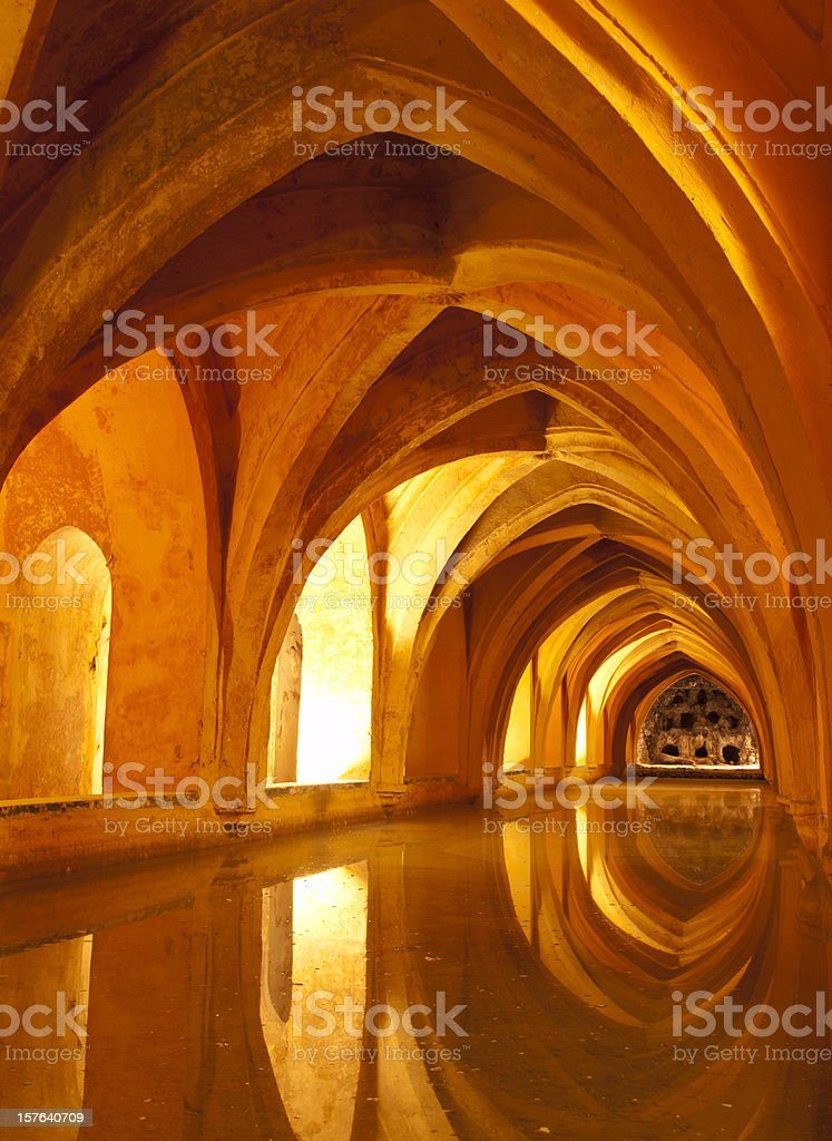 Queens baths Alcazar Interior, Seville Spain stock photo