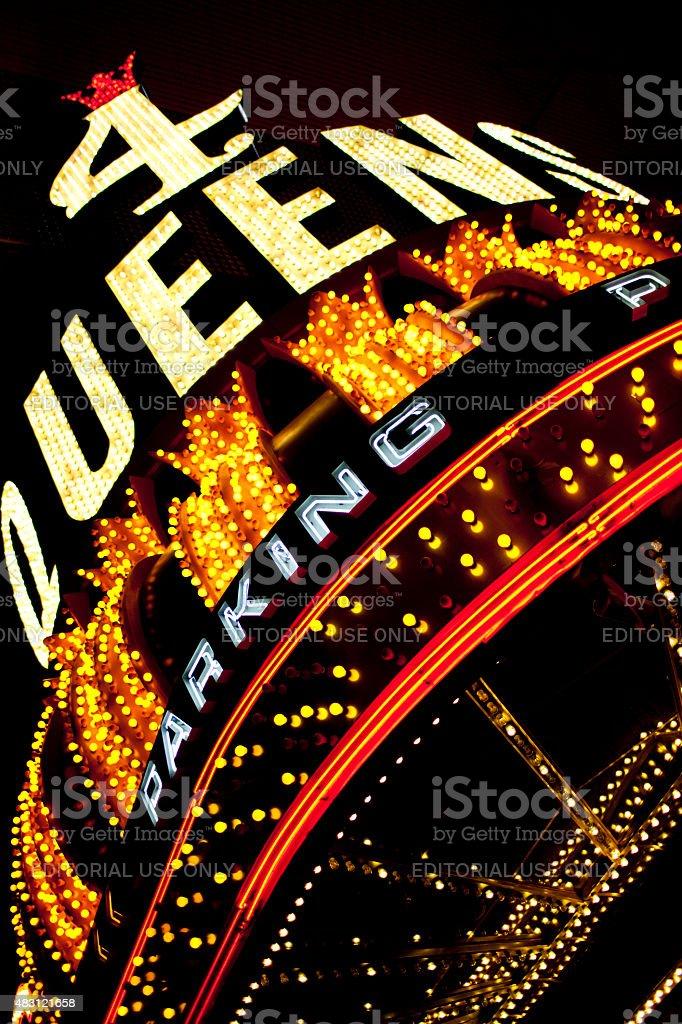 4 Queens Casino Sign Located in Old Las Vegas stock photo
