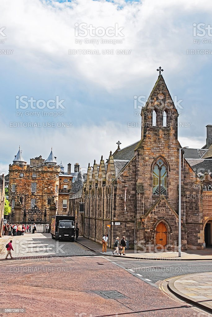 Queens Gallery and Palace of Holyroodhouse in Edinburgh stock photo