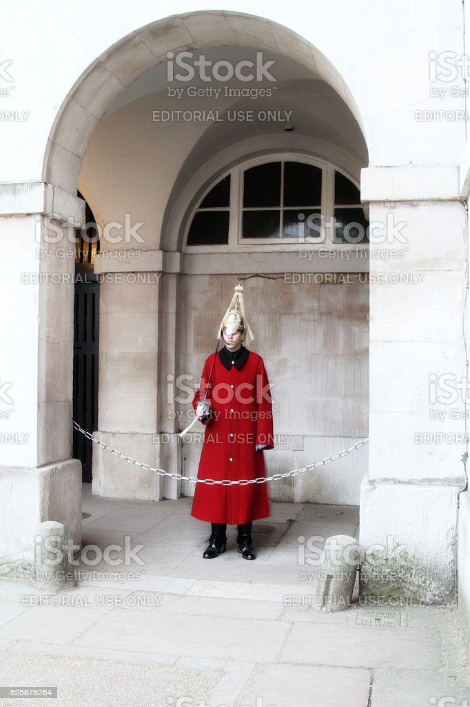 Queen's guard at  Horse guard's parade  London stock photo