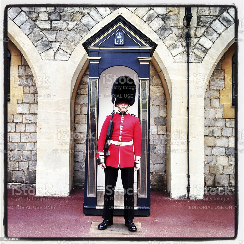 Queen's Guard Stands On Duty at Windsor Castle royalty-free stock photo
