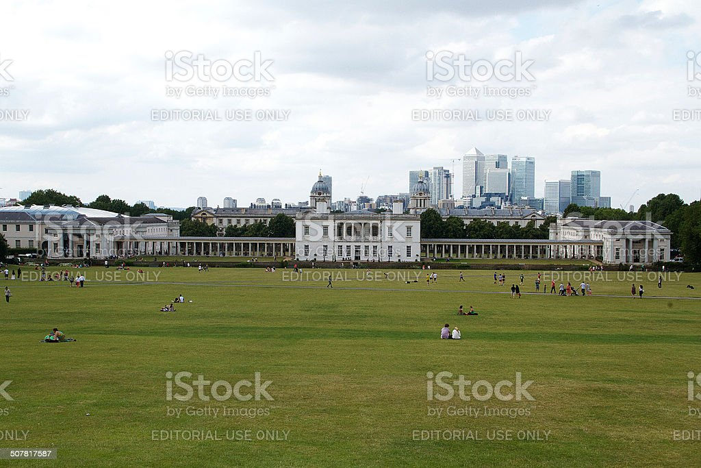 Queens House e Canary Wharf a Greenwich Park foto stock royalty-free