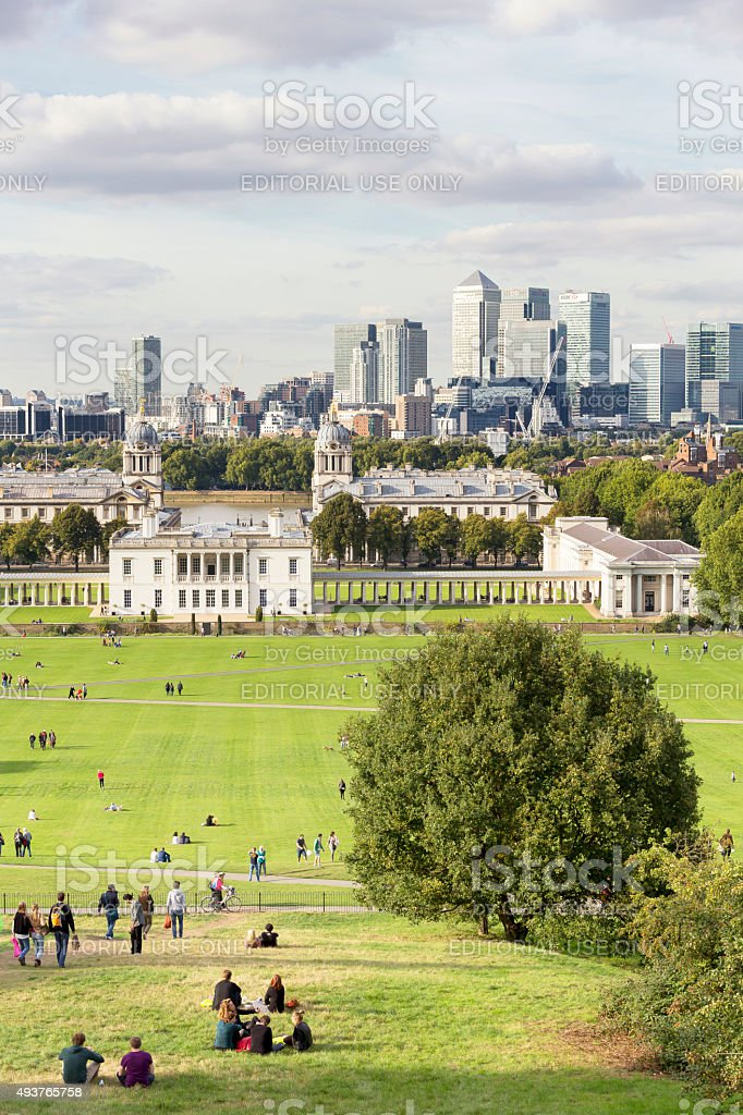 Queen's House, Naval College and Canary Wharf skyline in London stock photo